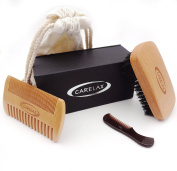 CARELAX Beard Brush Set - Natural Boar Bristle Beard and Perfect Beard Comb