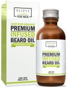 Certified Organic Beard Oil with Argan, Jojoba & Fractionated Coconut Oil by RejuveNaturals, 60ml | For a Long, Thick Beard and Healthy Growth | Unscented