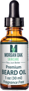 Morgan Oak Premium Beard Oil & Leave in Conditioner 30ml-9 Nutrient-Rich Oils-Vitamin E, Argan, Avocado & JoJoba Stimulates Hair Growth for Thicker Beard Eliminates Beard Dander & Dry Skin Unscented