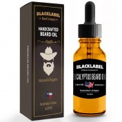 Black Label Premium Beard Oil Handmade in USA EUCALYPTUS Scented Leave-In Conditioner for Beard Moustache & Face 100% Natural & Organic, Exclusively Made by Texans 60ml