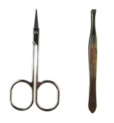SUKRAGRAHA Stainless Steel Makeup Slim Curved Edge Eyebrow Hair Brow Trimming Scissors Cutter + Flat Edge Clip Tweezer