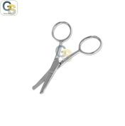 G.S 8.9cm MINI CURVED moustache NOSE EAR HAIR REMOVER SCISSORS TRIMMER W/ SAFETY TIPS