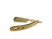 Barber Straight Razor Gold Plated Both Hole and Non Hole Design