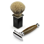 A.P. Donovan - Luxury safety razor from green juniper wood - badger hair shaving brush - travel case
