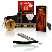 ~Shave Ready~ DOVO & The Blades Grim Luxury Straight Razor Shaving Set, The Blades Grim Soap and Tin, Luxury Synthetic Shaving Brush with Slip Case, Synthetic Strop - Complete Straight Razor Set