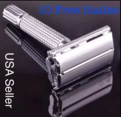 Men's Traditional Double Edge Chrome Safety Classic Shave Razor With 12 Blades
