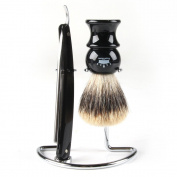 RoyalShave Men's Straight Razor, Badger Brush, Chrome Stand Set - Featuring Dovo 1.6cm Straight Razor!