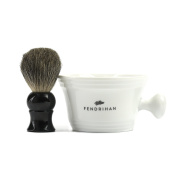 Fendrihan Porcelain Shaving Mug, White (MADE IN THE EUROPEAN UNION) AND Genuine 100% Pure Badger Shaving Brush with Black Handle