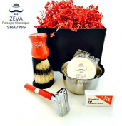 Mens Shaving DE Safety Razor Kit Vintage Badger Hair Shaving Brush Omega Shaving Brush Shaving Bowl and Soap 10 Dorco Blades Gift Set ZEVA shaving