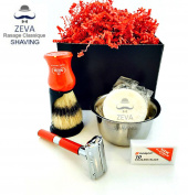 Shaving Set 4 in 1 Beautiful Gift Vintage Classic Collectible ZEVA DE Stainless Safety Razor Omega Shaving Brush Stand holder Soap lather Toiletry R4in1