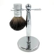 Sanwa 100% Natural Badger Brush Anodizing Aluminium Alloy Brush Handle + Stainless Steel Shaving Brush Stand Holder for Razor and Brush or Bowl