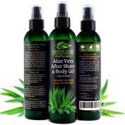 Aloe Vera After Shave & Body Gel - Unscented - Naturally Anti-Ageing Derma-Fuel for Men by Green Leaf Naturals - 99.8% Organic - Pump Dispenser Included - 240mls