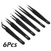 AStorePlus 6 Pieces Precision Anti-static ESD Stainless Steel Tweezer, 6 Black