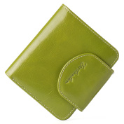 BOSTANTEN Women's Small Billfold Genuine Leather Tri-Fold Wallet with Zipper Pocket