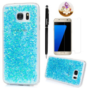 Badalink Galaxy S7 Edge Case Shiny Glitter Sparkle Powder Series Shockproof Drop Protection Soft TPU Rubber Protective Bumper Sratchproof Slim-Fit Colourful Cover for Samsung Galaxy S7 Edge - Blue