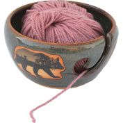 Mountain Scene Bear Yarn Bowl in Seamist glaze