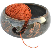 Dragonfly Yarn Bowl in Seamist glaze