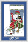 CaptainCrafts New Cross Stitch Kits Patterns Embroidery Kit - Christmas Stockings, Santa Claus With Snowman