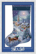 CaptainCrafts New Cross Stitch Kits Patterns Embroidery Kit - Christmas Stockings, Snow View