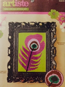 Artiste Mini Cross-Stitch Kit- Purple Peacock Feather- Finished Size