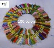 2500 Silk Art 100 Skeins of Multi-colour Soft Cotton Cross Stitch Threads Sewing Embroidery Floss 8M (Random Colour) SZX001C100