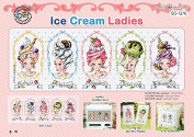 SO-G76 Ice Cream Ladies, SODA Cross Stitch Pattern leaflet, authentic Korean cross stitch design chart colour printed on coated paper