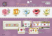 SO-G78 Flower Tea, SODA Cross Stitch Pattern leaflet, authentic Korean cross stitch design chart colour printed on coated paper