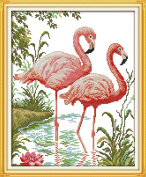 CaptainCrafts Hots Cross Stitch Kits Patterns Embroidery Kit - Two Flamingos