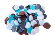 200 Piece Charcoal, Turquoise, White, Cocoa Colour Assortment of 2.5cm Felt Circles