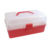 CurtzyTM Red Clear Plastic Large Tiered Art Craft Hobby Caddy Organiser Box Carry Case