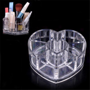 XILALU Clear Acrylic Heart Shaped Cosmetic Lipstick Brush Holder Makeup Case