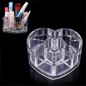 XILALU Clear Acrylic Heart Shaped Cosmetic Lipstick Brush Holder Makeup Case