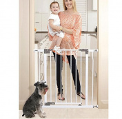 Baby Gate Walk Thru with Swing Door in White – Pressure Mount Safety for Doorways, Stairs, or Hallways is Best for Pets, Babies and Dogs - Portable Design for Indoor or Outdoor Use With Auto Locking