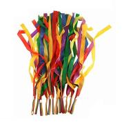 Hrph 12Pcs Hand Held Dance Rainbow Ribbon Toys for Children Random Colour