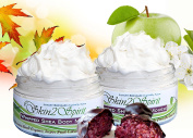 Organic Whipped Shea Body Mousse - SWEET INDULGENCE Holiday Duo Pack (Chocolate Raspberry Truffle & Grandma's Apple Pie) - All Natural, Hand Whipped, Highest Quality Organic Ingredients