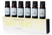 Sweet Treats Premium Grade Fragrance Oil - Gift Set 6/10ml Bottles - Banana Cream, Chocolate Mint, Blue Cotton Candy, Malibu Rum Cupcakes, Root Beer, Oatmeal Cookie Dough