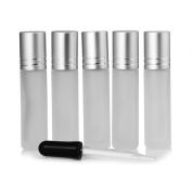 MUB 10ml Frosted Glass Roll On Bottles with Glass Roller and Brushed Aluminium Cap,Bottles for Essential oils,Set of 5