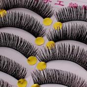 HOT!!comfortable 10 Pairs Black Stems long Makeup Thick False Eyelashes by Nails gaga