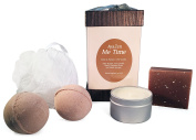 AyaZen Me Time Gift Set Pamper & Relax With Vanilla Aromatherapy 2 Bath Bombs, Natural Soap, Soy Candle & Mesh Sponge. Made In USA