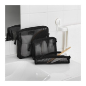 New (Set of 3) Toiletry Bags Kits for Home or Travel Unique Design in Mesh Net Construction Unisex Shaving Make up Toothbrush Cream Colon Quality