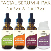 4 Bottle Serum Set – Natural Logix Anti-Ageing Facial Serums - 20% VITAMIN C (60ml) | 2.5% RETINOL (60ml) | 5% HYALURONIC ACID (60ml) | PEPTIDE COMPLEX (50ml), Natural and Vegan / 3 X 60ml + 1 X 50ml