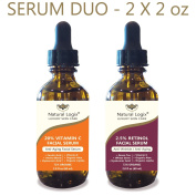 2 Bottle Serum Set – Natural Logix Anti-Ageing Serum Duo - 20% VITAMIN C (60ml) | 2.5% RETINOL (60ml), Penetrates to Reduce Wrinkles, Fade Dark Spots, Evens Skin Tone, 2 X 60ml