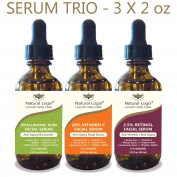 3 Bottle Serum Set – Natural Logix Anti-Ageing Serum Trio - 20% VITAMIN C (60ml) | 2.5% RETINOL (60ml) | HYALURONIC ACID (60ml), Penetrates to Reduce Wrinkles, Fade Dark Spots, Evens Skin Tone, 3 X 60ml