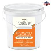 BULK SIZE of 20% VITAMIN C Serum in a base of 11% Hyaluronic Acid + Vitamin E + Ferulic Acid + Amino Blend + Aloe + Jojoba Oil - Vegan, 72% Organic, 1 Gallon / 3.785 litres / 128 fl oz / 3,785ml