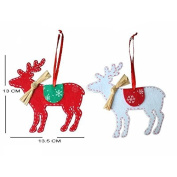 Best Choose Christmas Deer Xmas Tree Decorations Red and White Ornament 2pcs AS New