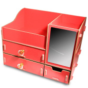 Fashion DIY Wooden Makeup Storage Display Box 3 Drawers Jewellery Cosmetics Storage Organiser with Mirror