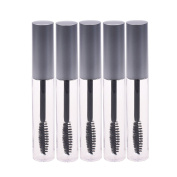 10ml 5 Packs Travel Eyelashes Tube Empty Reusable DIY Mascara Brush Vial Eyelash Wand Eyelash Growth Oil Bottle Container With Plug Silver Cap