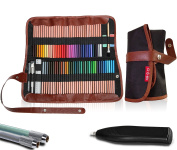 Premium Art Supplies Organiser Set : 72-Slot Coloured Pencil Case + Electric Eraser + 2 Pencil Extenders In Travel Pouch- Adult & Children Colouring Book Kit – BONUS