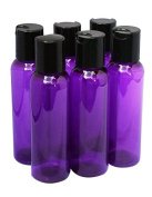 2oz Plastic Bottles PURPLE PET Qty 6 Includes Smooth Black Disc Top Caps 60ml or 2 Oz
