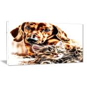 Digital Art PT2413-40-20 Best Buddies Cat & Dog Large Animal Wall Art